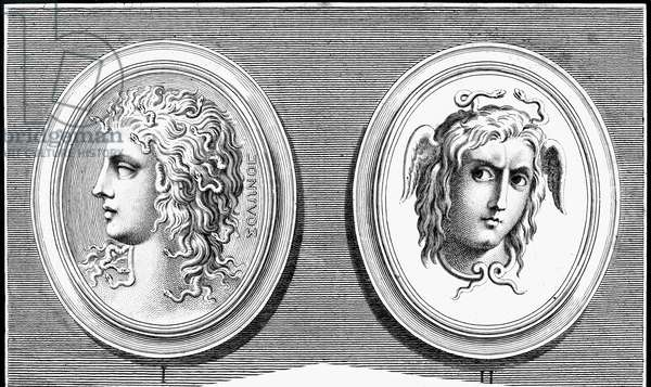 MYTHOLOGY: MEDUSA Copper engravings, 18th century, of antique Greek itaglios.