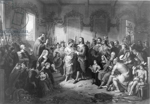 POCAHONTAS (1595?-1617). Native American princess. The Marriage of Pocahontas to John Rolfe on 5 April 1614. Steel engraving, 1855, by John C. McRae after Henry Brueckner.
