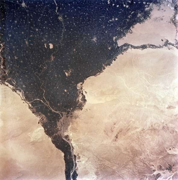 EARTH FROM SPACE, 1965 A view of Egypt and the Nile Delta. Photographed by astronauts aboard the Gemini V, 1965.