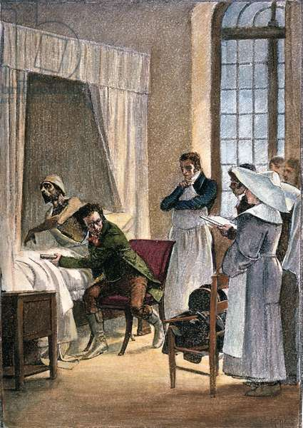 RENE LAENNEC (1781-1826) French physician; inventor of the stethoscope. At the Necker Hospital, Paris. Wood engraving, 19th century, after the painting by Théobald Chartran.