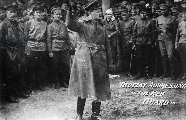 LEON TROTSKY (1879-1940) Né Lev Davidovich Bronstein. Russian Communist leader. 'Trotsky Addressing the Red Guard.' Photograph, early 20th century.