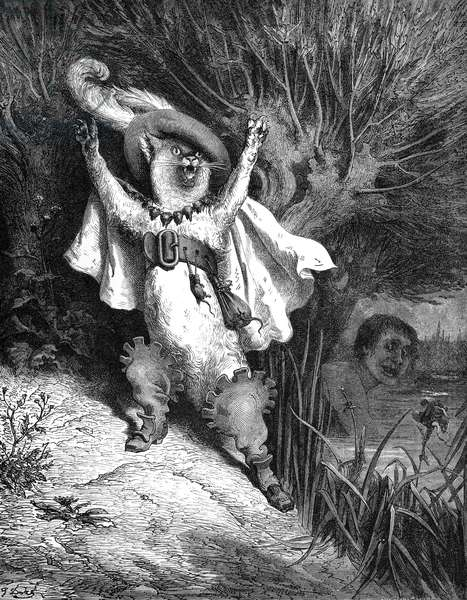 PUSS IN BOOTS, 1867 Wood engraving after Gustave Doré from an 1867 edition of Charles Perrault's fairy tale.