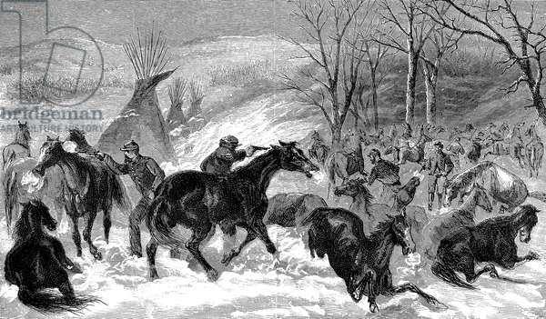BATTLE OF WASHITA, 1868 Lieutenant Colonel George A. Custer's men shooting some of the 900 horses captured from the Cheyenne Native Americans led by chief Black Kettle along the Washita River, Indian Territory. Contemporary American wood engraving.