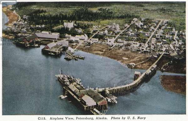 ALASKA: PETERSBURG, c.1930 Aerial view of Petersburg, Alaska. Postcard, American, c.1930.