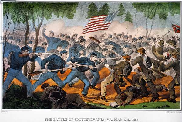 BATTLE OF SPOTSYLVANIA The Battle of Spotsylvania, Virginia, 12 May 1864. Lithograph, undated, by Currier & Ives.