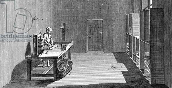 TOBACCO, 18TH CENTURY Worker cutting lengths of tobacco to make snuff. Copper engraving from 'L'Encyclopedie' of Denis Diderot, 18th century.