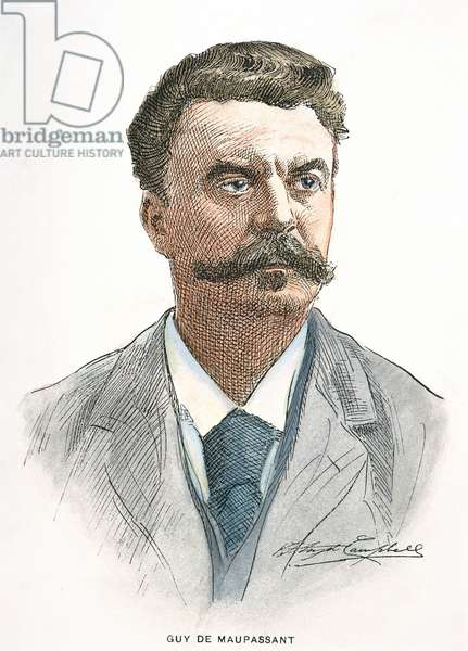 GUY de MAUPASSANT (1850-1893). French writer. Contemporary illustration.