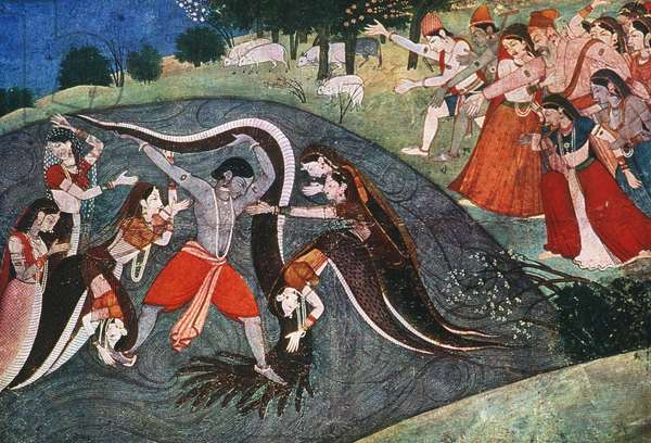 KRISHNA SUBDUING SNAKE Krishna subduing the snake demon, Kaliya, by the river Jumna. From the Bhagavata Purana, Garwhal School, India, 1785.