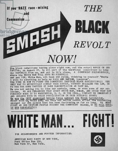 AMERICAN NAZI PARTY, 1963 Racist handbill printed and distributed in New York City by the American Nazi Party in an effort to combat the March on Washington on 28 August 1963.
