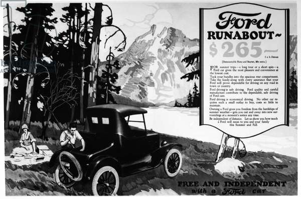 FORD ADVERTISEMENT, 1920s American advertisement for Ford 'Runabout' automobiles, 1920s.