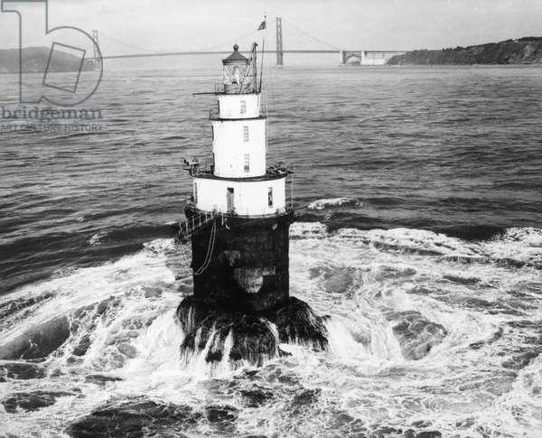 MILE ROCKS LIGHTHOUSE San Francisco Bay, California.