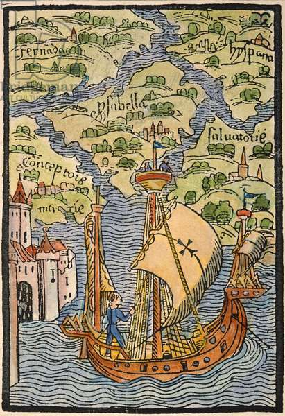 COLUMBUS: WEST INDIES, 1492 The West Indian Isles discovered by Christopher Columbus. Woodcut from the illustrated edition of the Columbus letter to Sanchez, 1493.