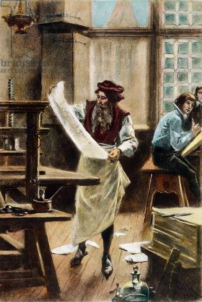JOHANN GUTENBERG ( c.1395-1468). German printer. After a painting, 1894, by Jean Leon Gerome Ferris.