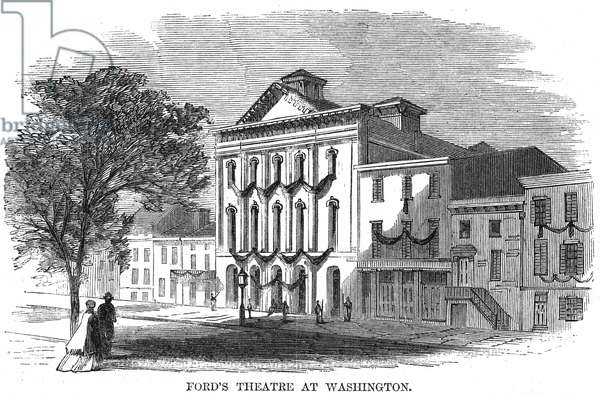 D.C.: FORD'S THEATRE, 1865 Ford's Theatre in Washington, D.C., where John Wilkes Booth shot and killed President Abraham Lincoln, 14 April 1865. Wood engraving from a contemporary American newspaper.