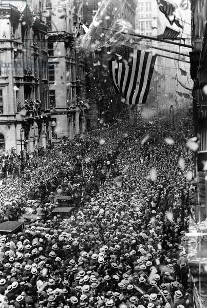 NYC: TICKER TAPE PARADE The ticker tape parade on Broadway, celebrating Gertrude Ederle's successful swim across the English Channel. Photograph, 1926.