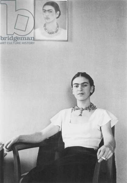 FRIDA KAHLO (1907-1954) Mexican artist. Photographed by Lucienne Bloch, New York, 1933.