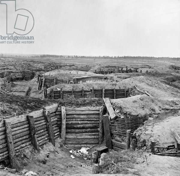 CIVIL WAR: PETERSBURG Confederate fortifications at Petersburg, Virginia, with chevaux-de-frise beyond, during the American Civil War, 1865.