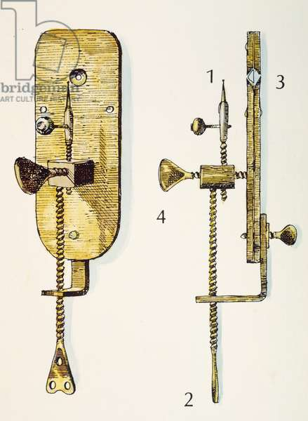 ANTON van LEEUWENHOEK (1632-1723). Dutch naturalist. One of Leeuwenhoek's microscopes: (1) the specimen to be examined was placed on the apparatus, (2) brought into position vertically by turning the lower screw, (3) and moved toward or way from the lens (4) by turning the shorter screw.