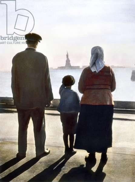 IMMIGRANTS: ELLIS ISLAND Immigrants to the United States at Ellis Island. Oil over a photograph, c.1920.