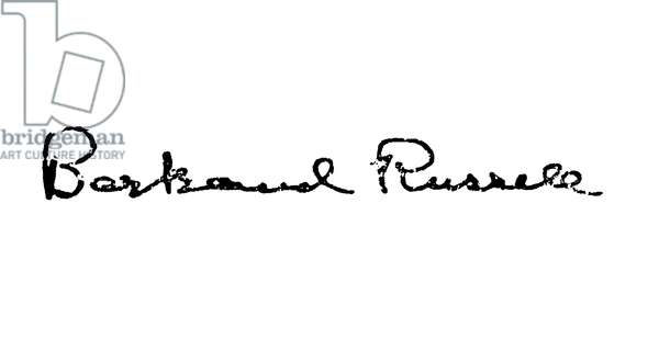 BERTRAND RUSSELL (1872-1970). 3rd Earl Russell. English mathematician and philosopher. Autograph signature.