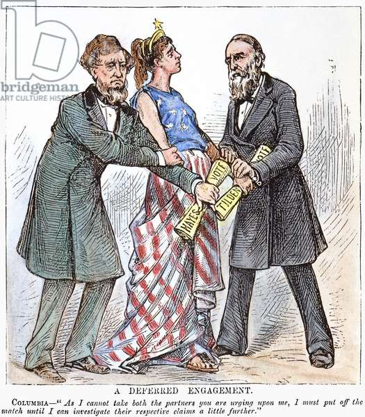 ELECTION CARTOON, 1876 'A Deferred Engagement.' Contemporary American cartoon showing Columbia (the United States) waiting for the outcome of the Rutherford B. Hayes and Samuel J. Tilden presidential election of 1876, in which twenty disputed electoral votes were eventually awarded to Hayes.