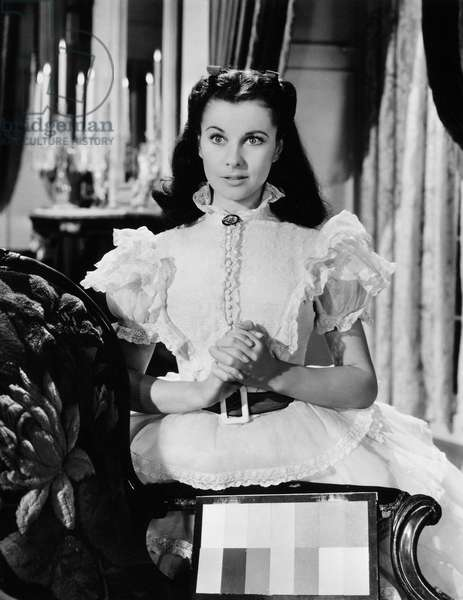 GONE WITH THE WIND, 1939 Vivien Leigh, as Scarlett O'Hara, in a behind-the-scenes shot (note the color patch beside her).