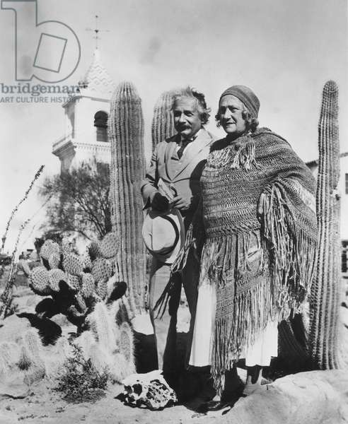 ALBERT EINSTEIN (1879-1955). American (German born) theoretical physicist, with his second wife, Elsa, at Palm Springs, California.
