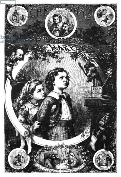 NAST: CHRISTMAS, 1870 Engraved cover by Thomas Nast for a Christmas Supplement to Harper's Weekly, 31 December 1870.