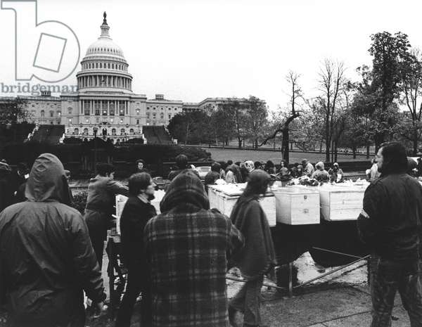 ANTI-WAR PROTEST, 1969 Demonstrators gather near the Capitol in Washington, D.C., on 15 November 1969, to protest the war in Vietnam. The caskets represent the thousands who have died in the conflict.