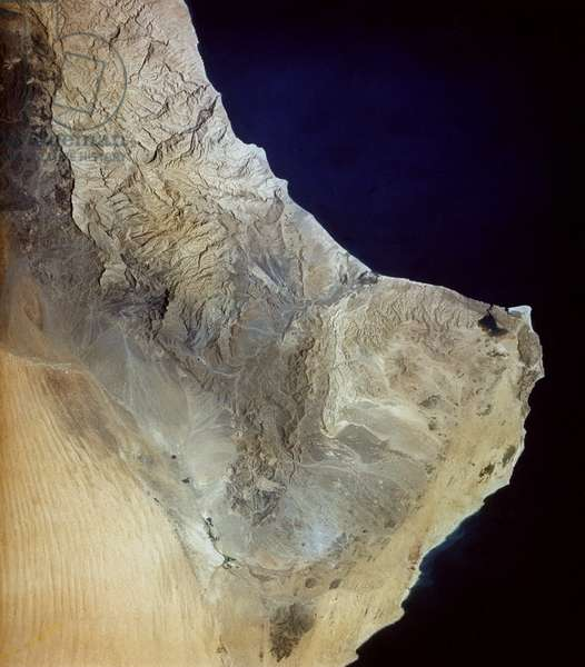 EARTH FROM SPACE, 1965 A view of the southeastern tip of Oman on the Arabian Peninsula and the Gulf of Oman. Photographed by astronauts aboard Gemini IV, 1965.