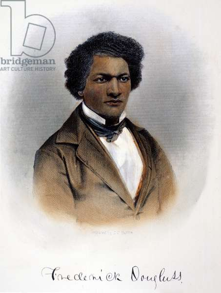 FREDERICK DOUGLASS ( c.1817-1895). American abolitionist and writer. Steel engraving, American, 1854.