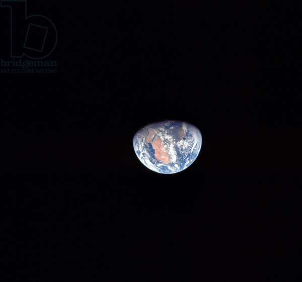 APOLLO 11: EARTH, 1969 View of Earth from the Apollo 11 spacecraft. Photograph, 20 July 1969.
