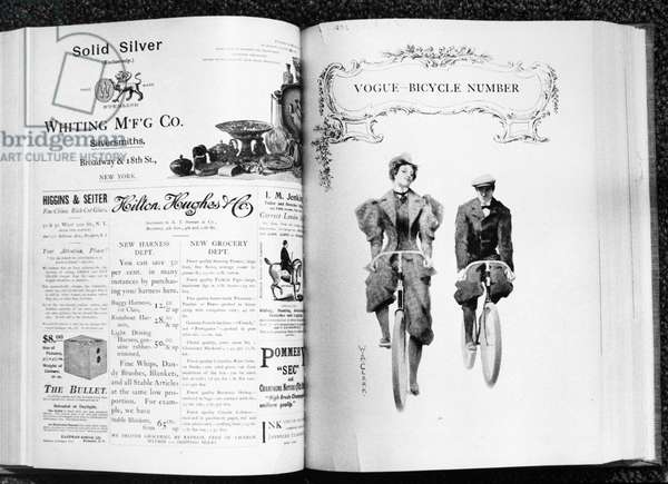 VOGUE MAGAZINE, 1895 Cover of an issue of 'Vogue' magazine, 1895, focusing on bicycling costumes (right), and various contemporary American magazine advertisements.