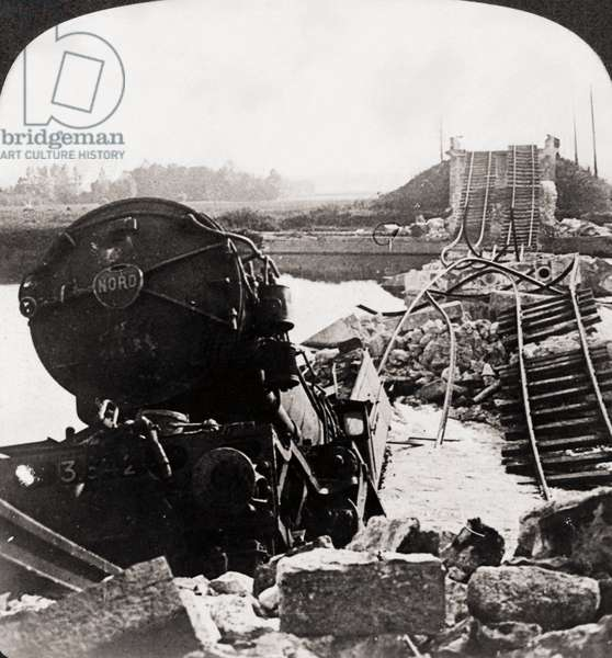 WORLD WAR I: MARNE BRIDGE Stereograph view of the Marne Bridge and a Red Cross train wreck after an attack by German forces, 1914-1918.