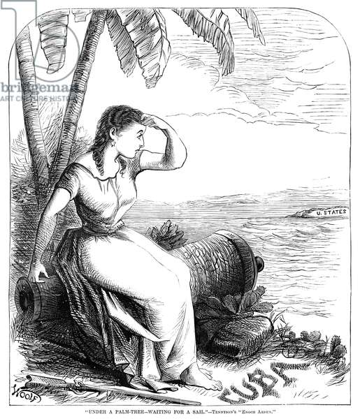 """WAR: TEN YEARS' WAR, 1869 '""""Under a Palm-Tree - Waiting for a Sail"""" -Tennyson's """"Enoch Arden.""""' Cartoon depicting a woman in Cuba amid weapons of war, watching for the arrival of the United States, during the Ten Years' War, 1869."""