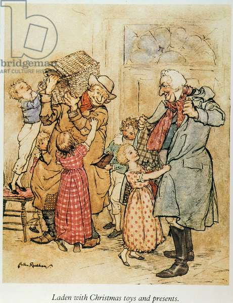 "A CHRISTMAS CAROL Christmas at Belle's family: illustration by Arthur Rackham for Charles Dickens' ""A Christmas Carol."""