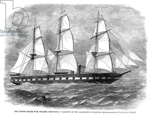CIVIL WAR: USS MINNESOTA The steam frigate USS Minnesota, flagship of the Union blockading squadron during the American Civil War. Wood engraving, American, 1861, after a photograph.