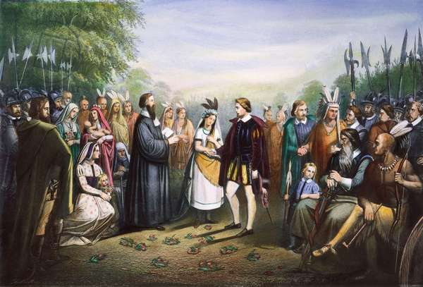 POCAHONTAS & JOHN ROLFE The marriage of Pocahontas and John Rolfe at Jamestown, Virginia, in April 1614. Lithograph, 19th century.