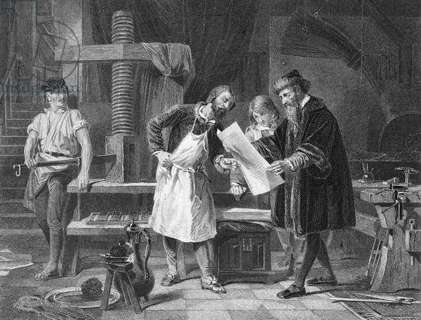 JOHANN GUTENBERG ( c.1400-1468). German printer. Steel engraving, American, 1869.