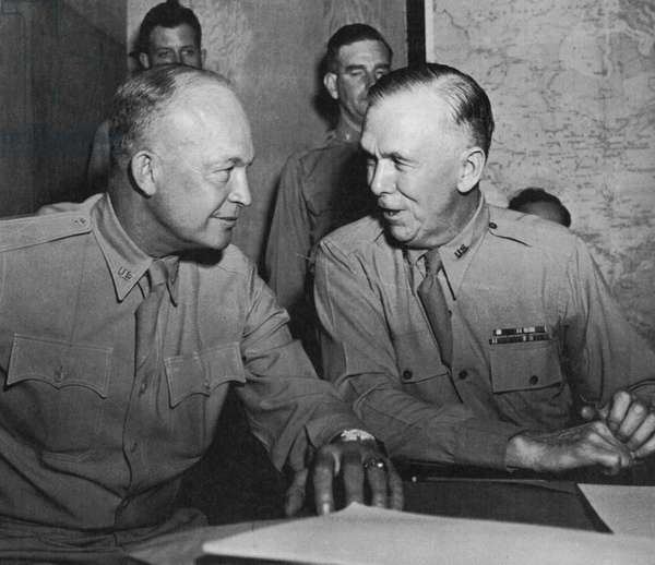 EISENHOWER & MARSHALL General Dwight D. Eisenhower in coversation with U.S. Army chief of staff George C. Marshall during World War II.