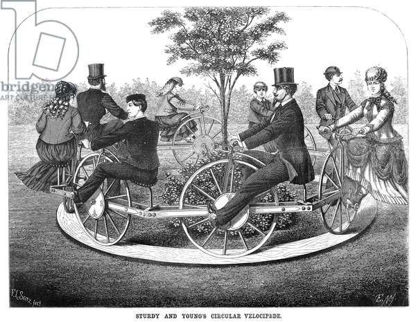 VELOCIPEDE, 1869 'Sturdy and Young's Circular Velocipede.' Wood engraving, Aemrcian, 1869.