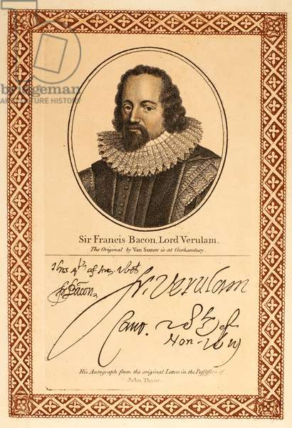 FRANCIS BACON (1561-1626) 1st Baron Verulam and Viscount St. Albans. English philosopher, statesman, and author. Etching, English, 1819, after Paul van Somer.