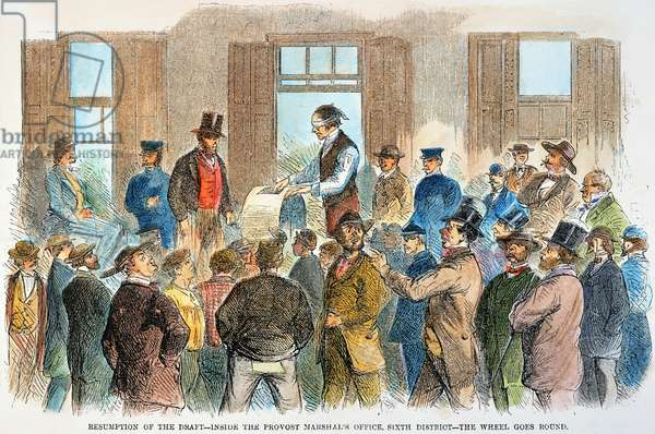 NY: DRAFT RESUMPTION, 1863 The resumption of the draft in New York on 19 August 1863, inside the Provost Marshal's office, following the New York City Draft Riots of 13-16 July 1863: contemporary engraving.