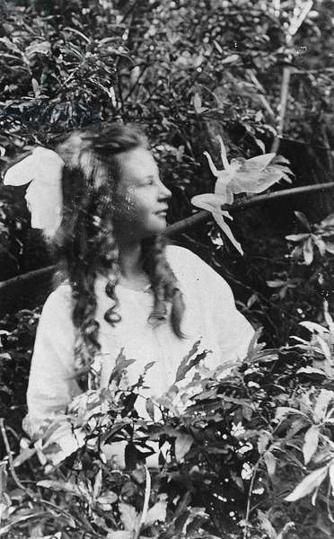 FAIRY HOAX, 1920 Frances Griffiths and a leaping fairy, in a photograph made in 1920 by her cousin Elsie Wright with a paper cutout.