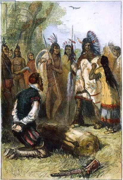 POCAHONTAS (1595?-1617) Native American Princess. Pocahontas saving the life of John Smith. Wood engraving, 19th century.