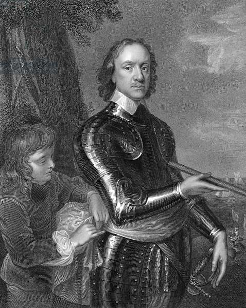 OLIVER CROMWELL (1599-1658) Lord Protector of England (1653-1658). Line and stipple engraving after the painting, c.1649, by Robert Walker.