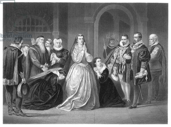 "MARY, QUEEN OF SCOTS (1542-1587). The last moments of Mary, Queen of Scots from the drama ""Maria Stuart,"" written in 1800 by Johann Christoph Friedrich von Schiller (1759-1805), German poet and playwright. Steel engraving, American, 1869."