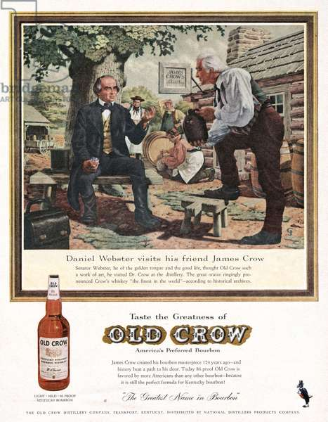 AD: OLD CROW, c.1950 American advertisement for Old Crow whiskey featuring Daniel Webster visiting distiller James Crow.