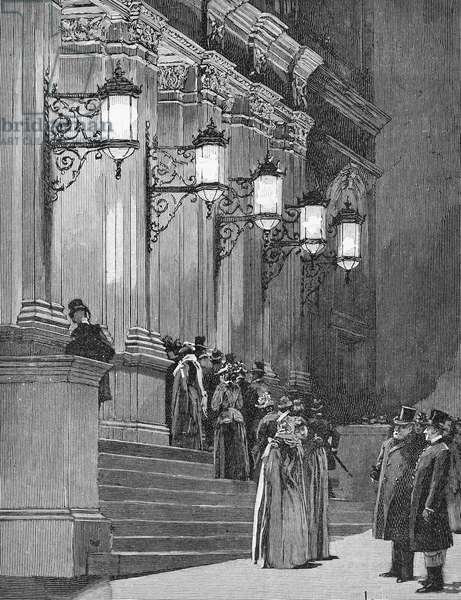 CARNEGIE HALL, 1891 The 57th Street entrance of Carnegie Hall in New York City at its opening in May 1891. Contemporary American line engraving.