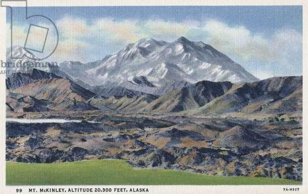 ALASKA: MOUNT MCKINLEY Mount McKinley in Alaska. Postcard, American, c.1939.